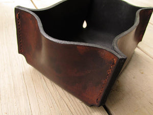 leather gifts brown leather desk organizer front view