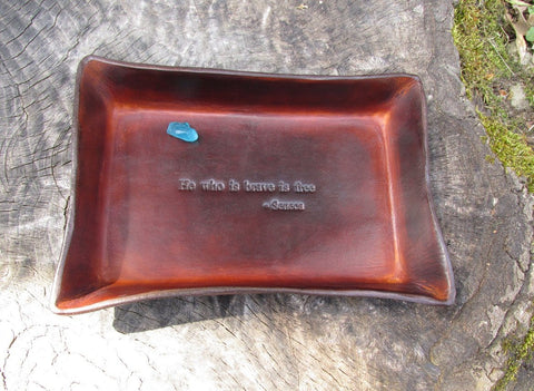 Graduation, enlistee or retirement gift. Leather Tray with quote.