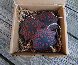 Leather Star Christmas Ornaments. Set of Three. Dark Brown.