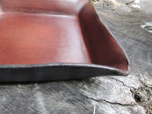 Dark brown leather tray