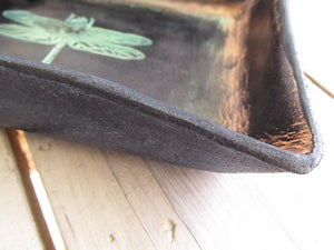 Dragonfly leather desk organizer. Black. Corner detail.