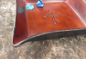 Christian gift. Leather tray will cross detail. Side view.