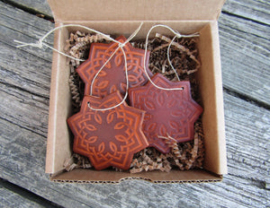 Rustic Holiday Ornaments. Leather Star. Set of three.