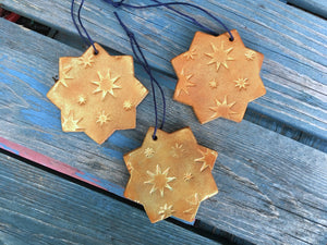 San Pedro Leather Star Chrismas Ornament set