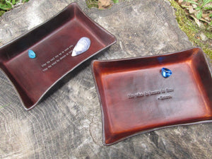 Good luck leather desk trays by Twin Saints Leather.