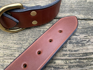 Detail of brown bridle leather dog collar.
