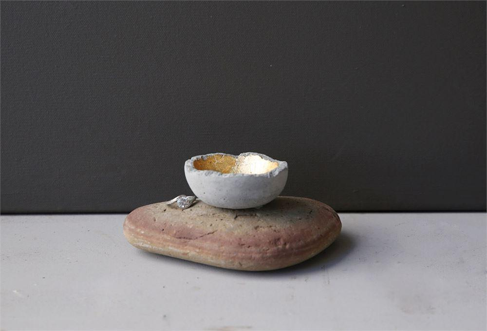Cement + Gold Ring Dish