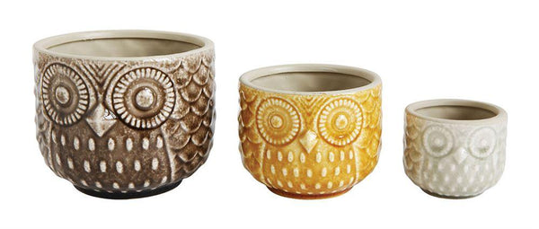 Stoneware Owl Pot Planters - Set of 3