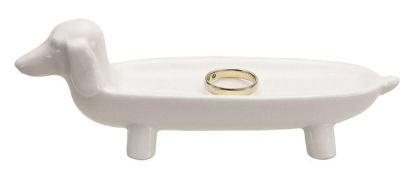 White Ceramic Dog Ring Dish