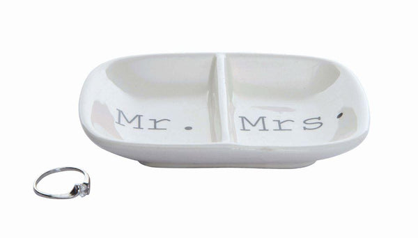 Mr. + Mrs. Ceramic Divided Ring Dish