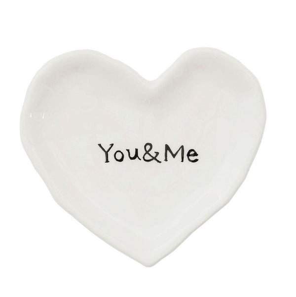 You + Me White Ceramic Heart Dish