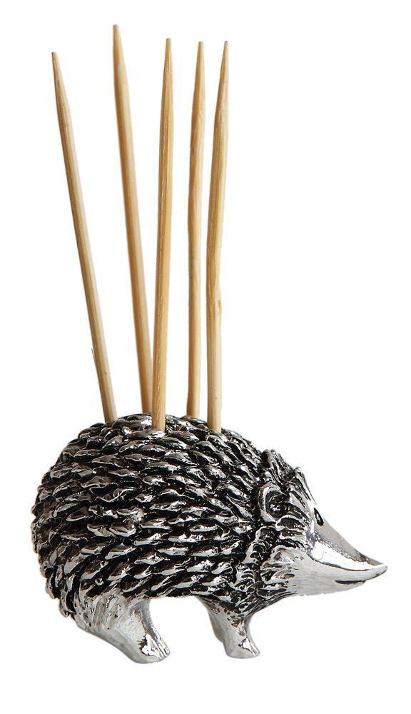 Pewter Hedgehog Toothpick Holder w/ 5 Toothpicks