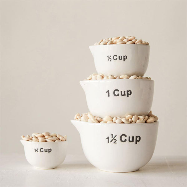 White Stoneware Measuring Cups - Set of 4