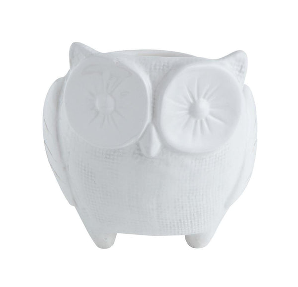 White Ceramic Owl Planter