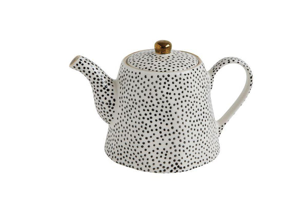 White + Black Dot Stoneware Teapot