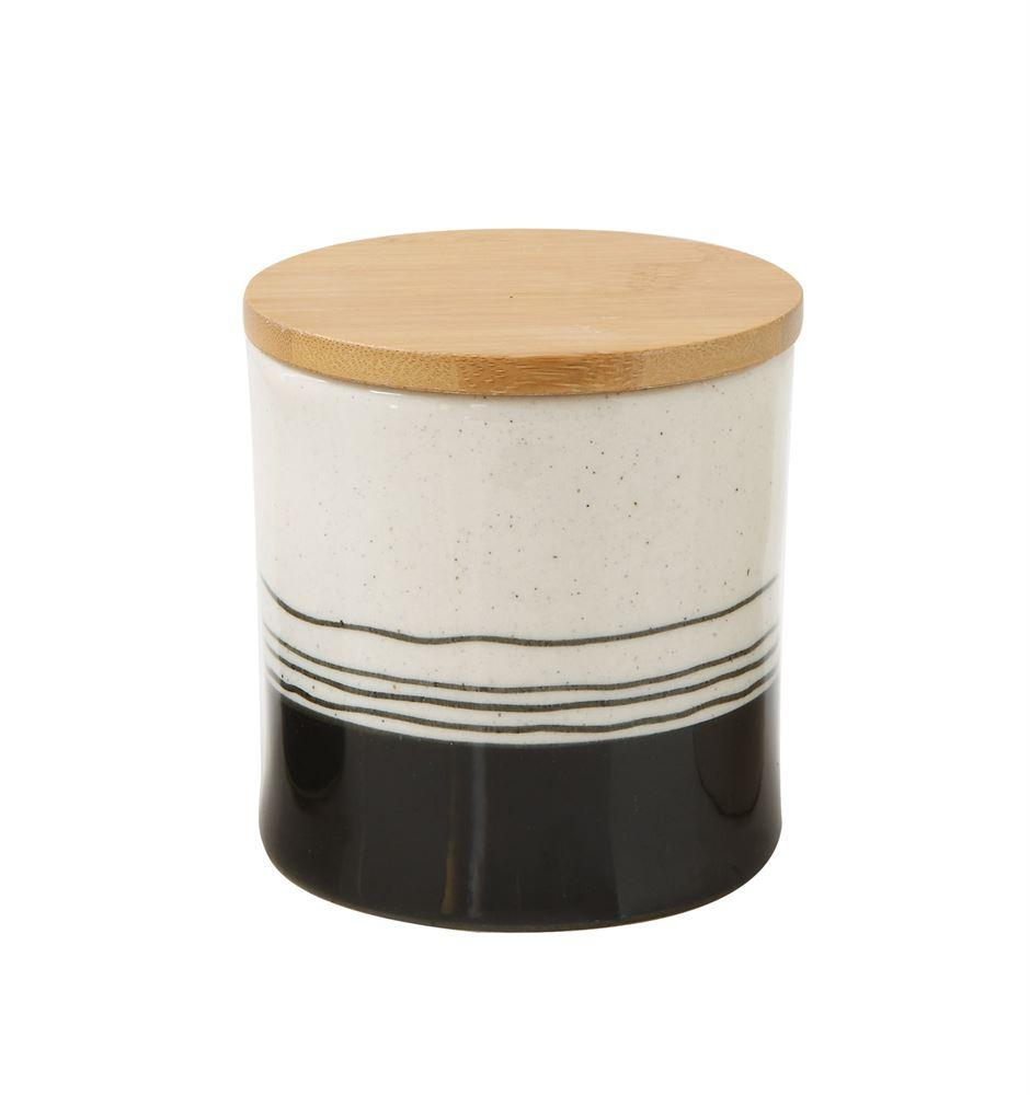 "Hand-Painted Black + White Stoneware Canister - 4""H"