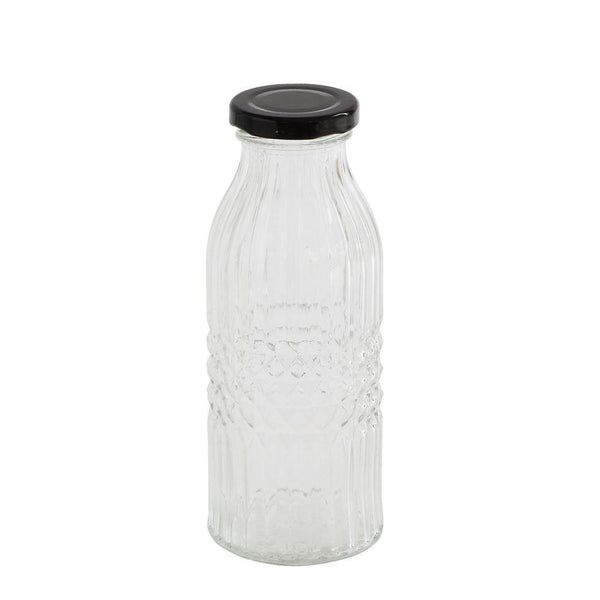 Textured Glass Bottle w/Metal Cap - Small
