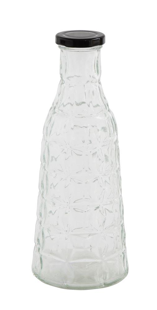 Textured Glass Bottle w/Metal Cap - Large