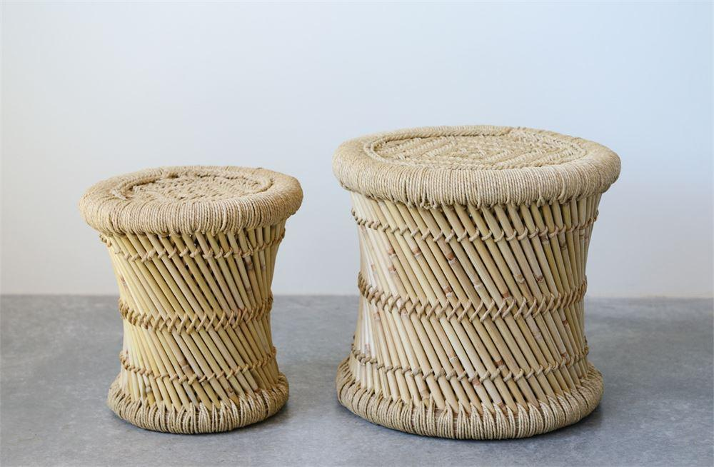 Hand-Woven Bamboo & Rope Side Tables
