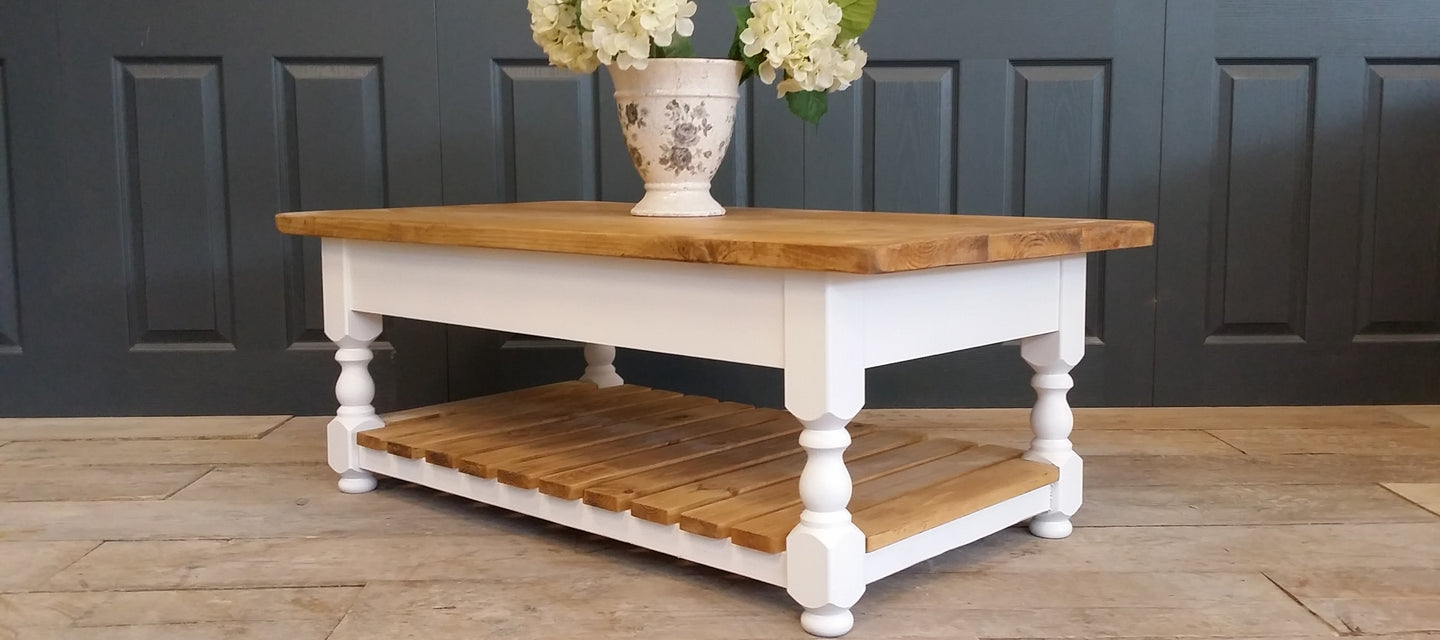 Old farmhouse coffee table with shelf made to any size or colour