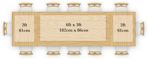 6 foot standard width table with extensions