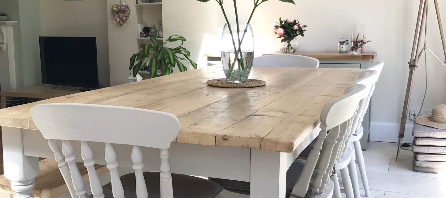 Farmhouse dining table with chairs and bench made from reclaimed wood