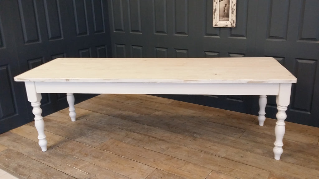 Whitewashed Farmhouse Table Made From Reclaimed Wood