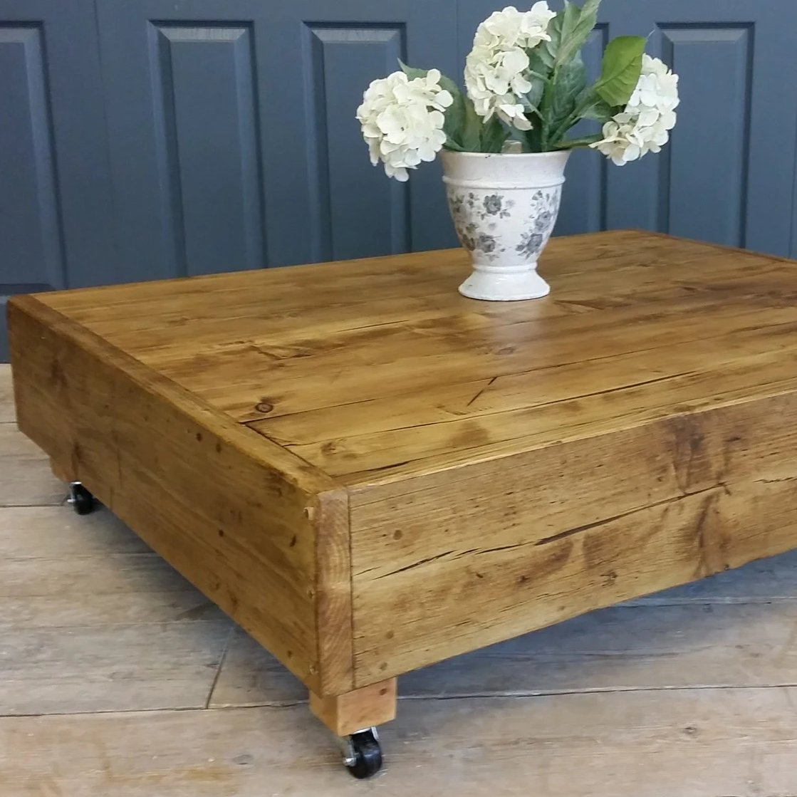 Large Square Industrial Vintage Reclaimed Coffee Table With Dark Oak Country Life Furniture
