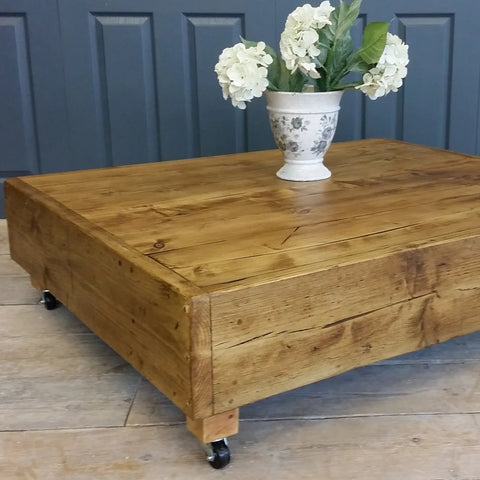 Large square industrial & vintage reclaimed coffee table with dark oak wax - Country Life Furniture - Quality Interiors
