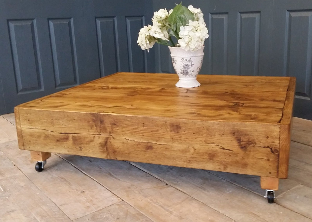 Large Square Industrial Vintage Reclaimed Coffee Table With Dark Oak Country Life Furniture Quality Interiors