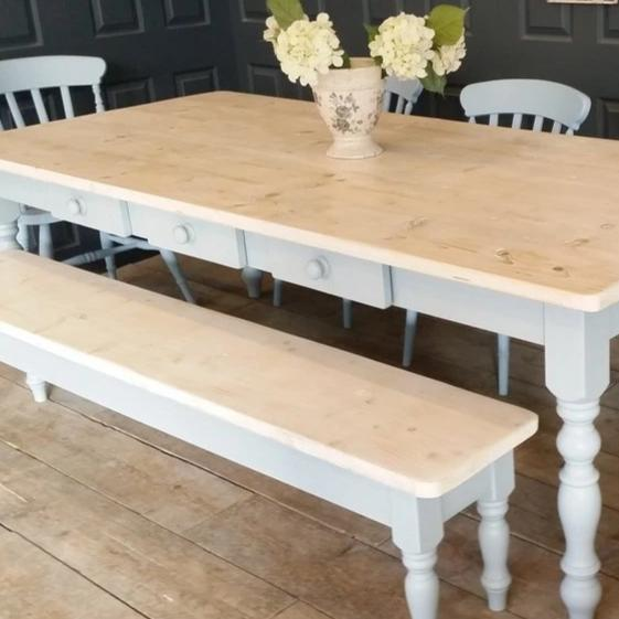 The 'Lulworth blue' table - Made From Reclaimed Wood (Distressed Wooden Top) - Country Life Furniture - Quality Interiors