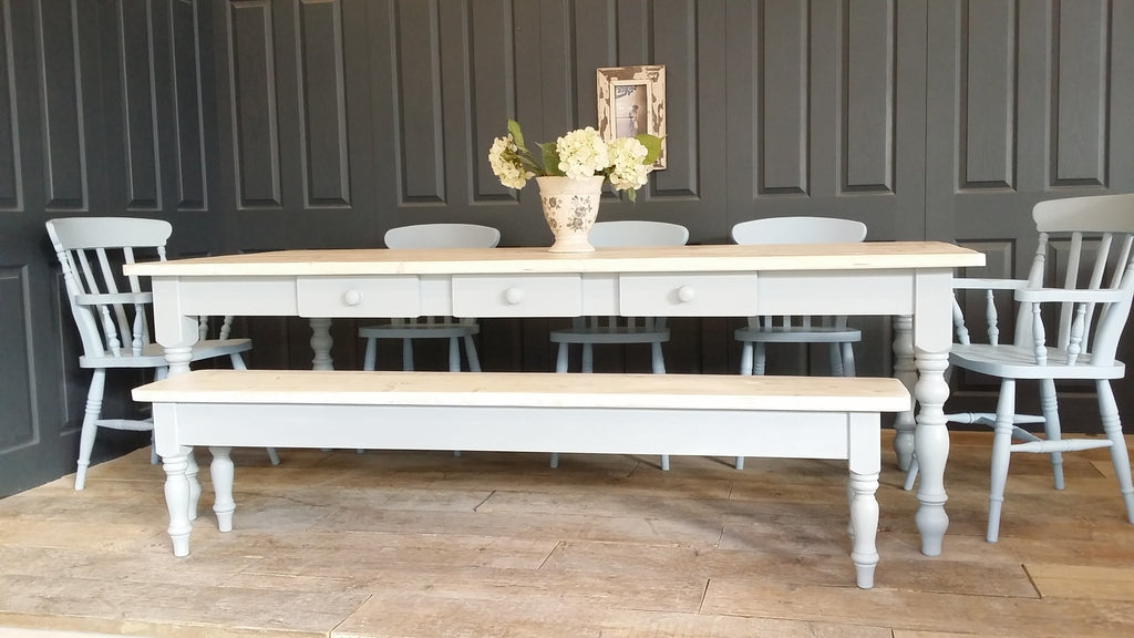 Whitewashed Farmhouse Table.