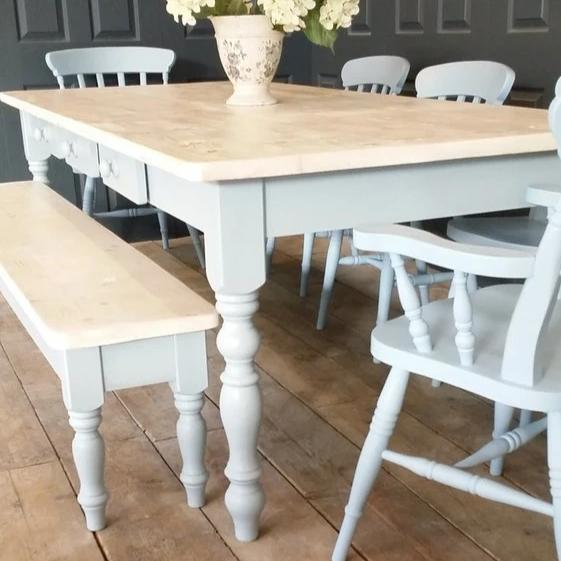 Shabby chic dining table and chairs - Made From Reclaimed Wood (Distressed Wooden Top) - Country Life Furniture - Quality Interiors