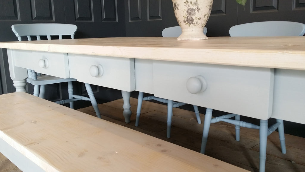 Charming 7ft X 3ft Whitewashed Farmhouse Table.