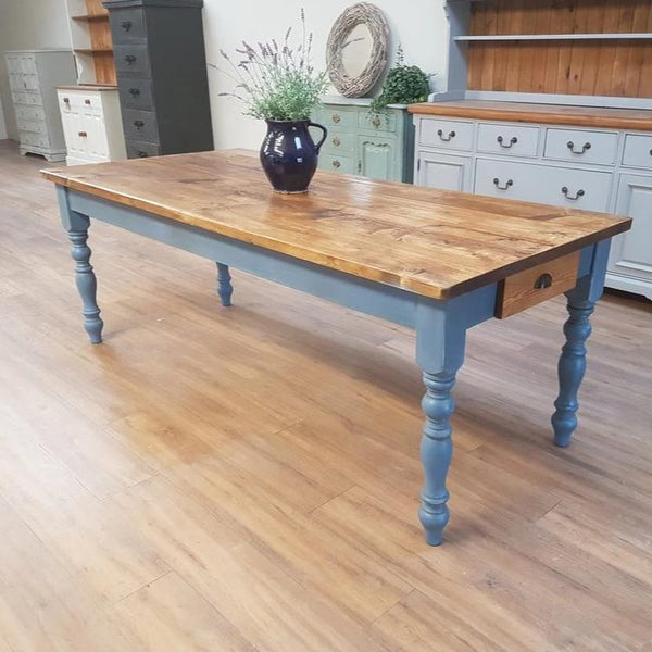 Dark oak reclaimed rustic farmhouse table