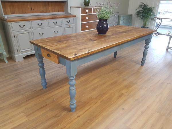 The 'Greek Blue' Table  - Made From Reclaimed Wood (Distressed Wooden Top)