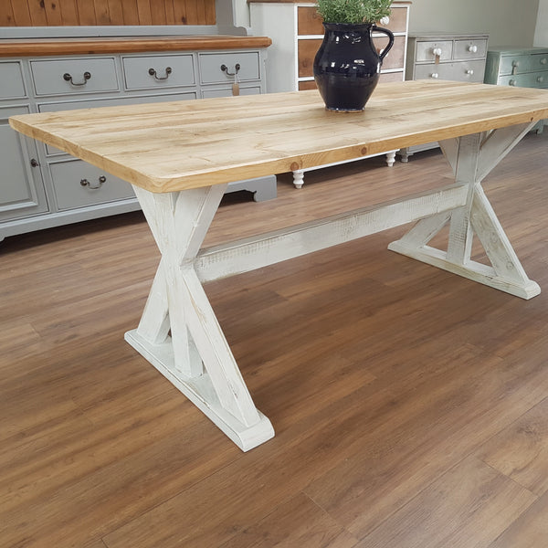 Distressed Trestle Table - Made from reclaimed wood - Any colour or size - Country Life Furniture - Quality Interiors