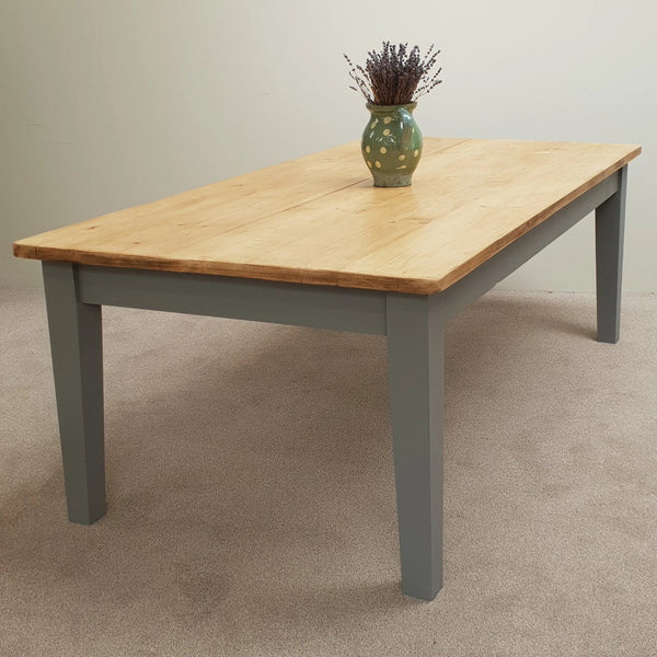 Reclaimed pine kitchen table with tapered legs painted in 'Manor House Grey'