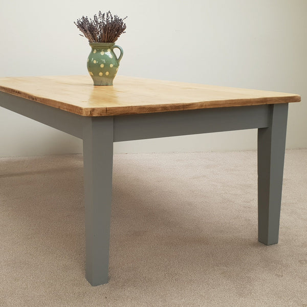 Antique farmhouse table with tapered legs - Made From Reclaimed Wood (Distressed Wooden Top)