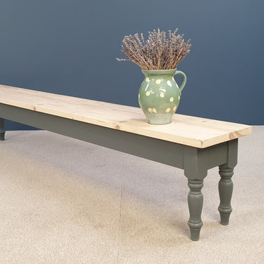 Reclaimed Rustic Benches painted in 'Downpipe'