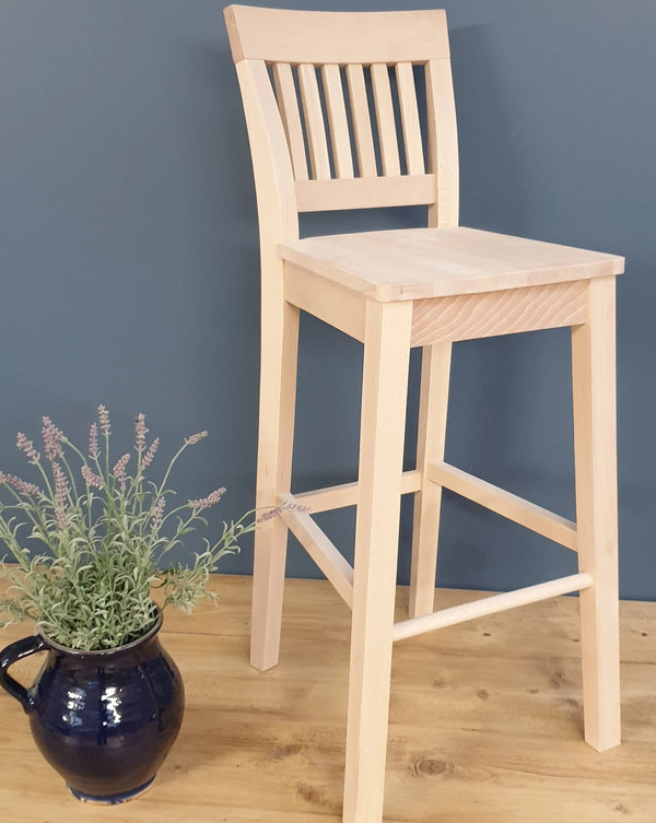 The 'Linden' High Back Stool with hard seat