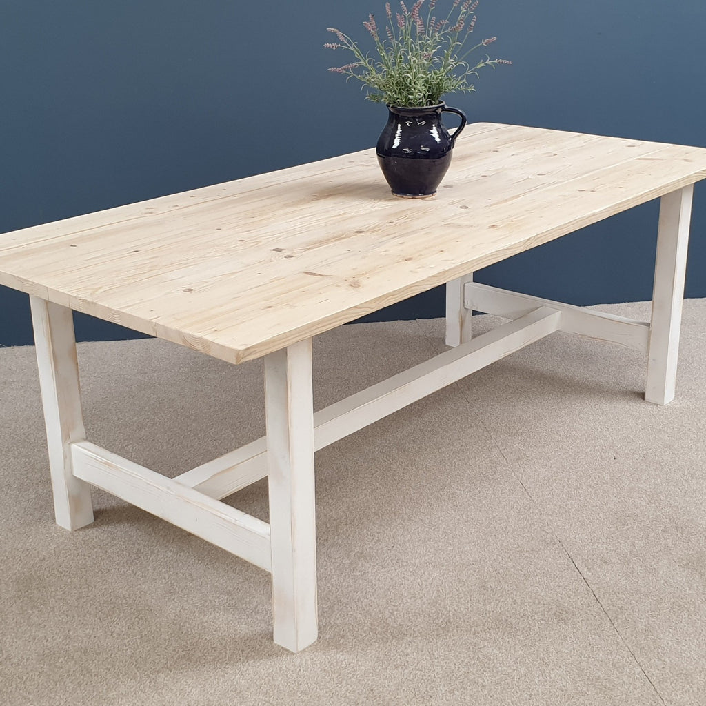 The 'Norfolk' Reclaimed Farmhouse Table with white distressed square legs painted in a colour of your choice