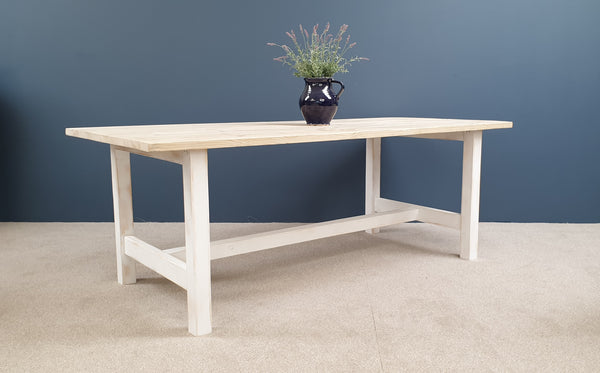 The 'Norfolk' Reclaimed Farmhouse Table, painted in a colour of your choice