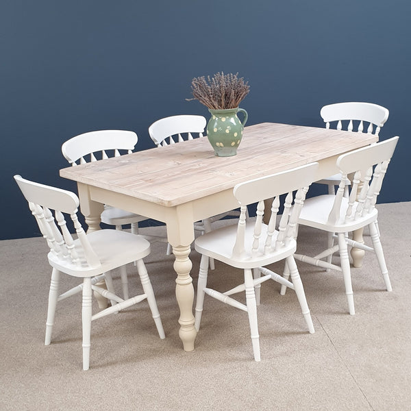 The 'White washed' Reclaimed Farmhouse Table, painted in a colour of your choice