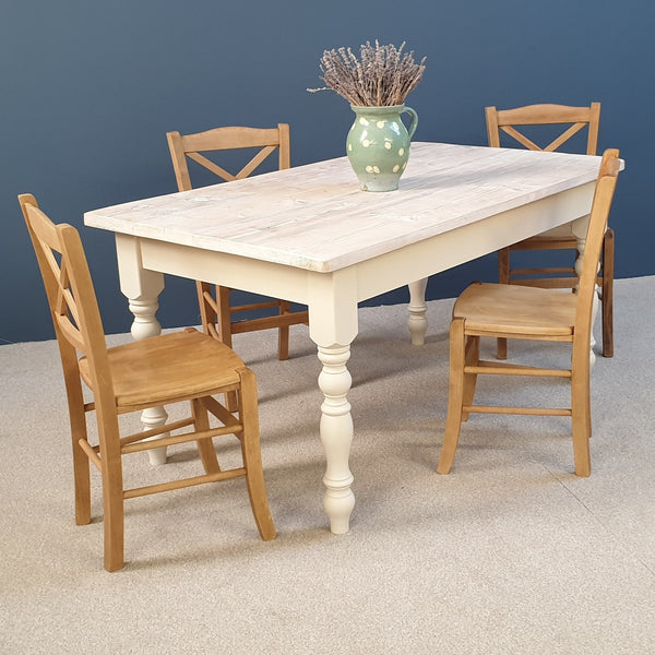 The 'Snow White' Reclaimed Farmhouse Table with a whitewashed top painted in a colour of your choice