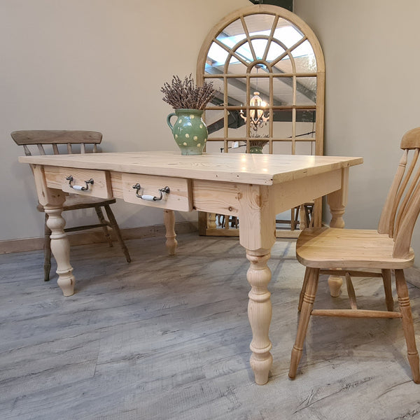 Waxed all over traditional farmhouse table   - Made From Reclaimed Wood (Distressed Wooden Top
