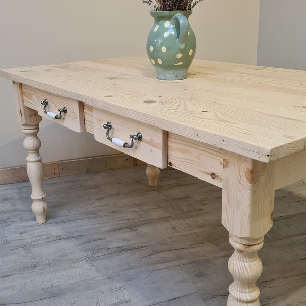 Waxed all over traditional farmhouse table   - Made From Reclaimed Wood (Distressed Wooden Top)