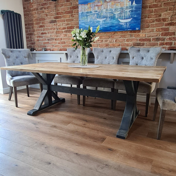 Cross Frame Trestle Table - Made from reclaimed wood - Any colour or size