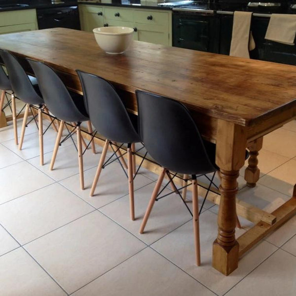 Refectory oak farmhouse table with benches and chairs