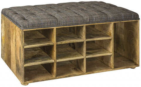 Upholstered Tweed Shoe Storage Bench Seat